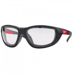 MILWAUKEE PREMIUM Schutzbrille mit Schaumstoffauflage Klar