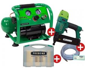 PREBENA VITAS 45 Montage-Kompressor-SET inkl. Nagelgerät + Nägel + Schlauch
