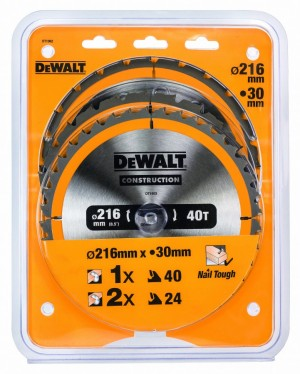 DEWALT Kreissägeblätter 3er Pack 216 mm