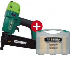 PREBENA Druckluftnagler 2XR-J50 mit Nägel-Sortiment (8.000 Stk.)