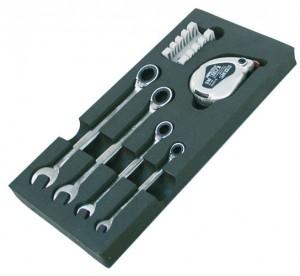 Moduleinsatz Ring-Gabelschlüsselsatz mit Ratschenfunktion